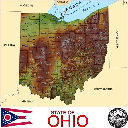 Ohio comtés carte Banque d'images - 33926755