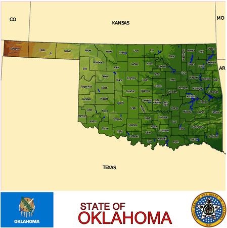 Oklahoma Counties map Vector
