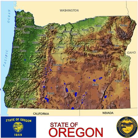 Oregon Counties map Vector