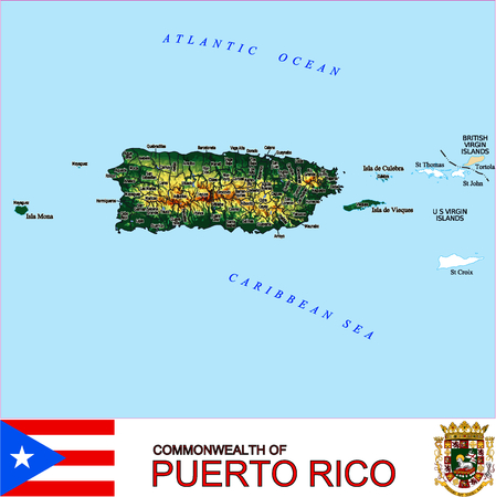 historic world event: Puerto Rico Counties map