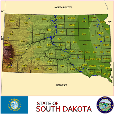 historic world event: South Dakota Counties map
