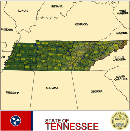 historic world event: Tennessee Counties map Illustration