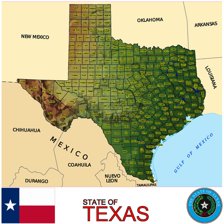 conurbation: Texas Counties map