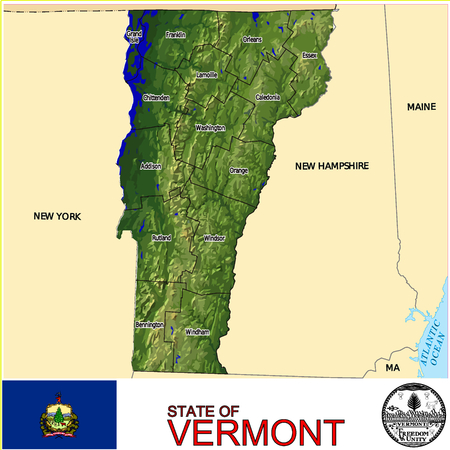 historic world event: Vermont Counties map Illustration