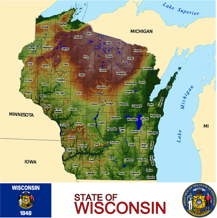 historic world event: Wisconsin Counties map Illustration