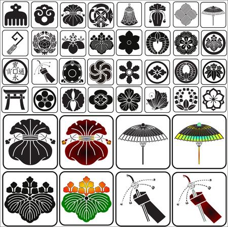 Japanese crests set vector Illustration