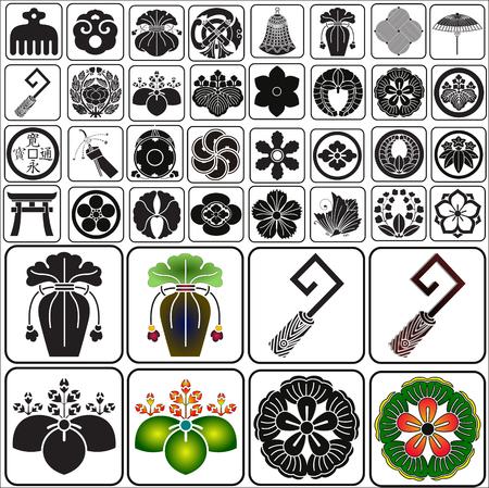 日本の家紋のベクトルを設定します。  イラスト・ベクター素材