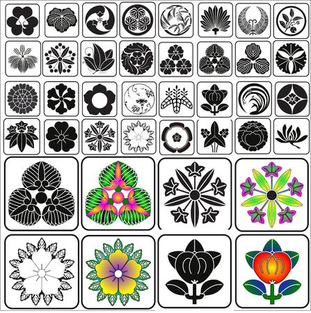 Japanese crests set vector Ilustração