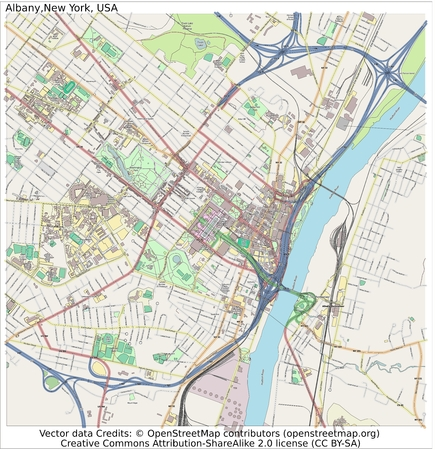 Albany New York city map aerial view