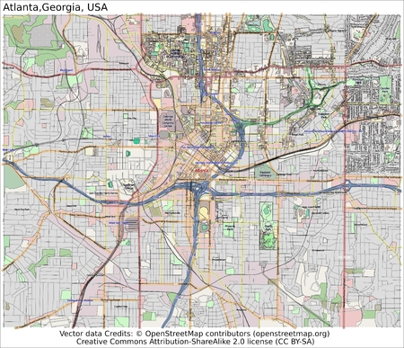 Atlanta Georgia city map aerial view