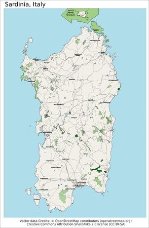 Sardinia Italy island map aerial view