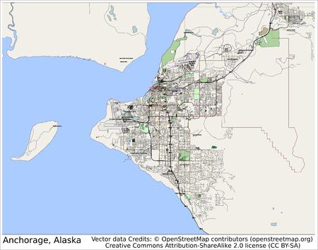 Anchorage Alaska USA  city map aerial view