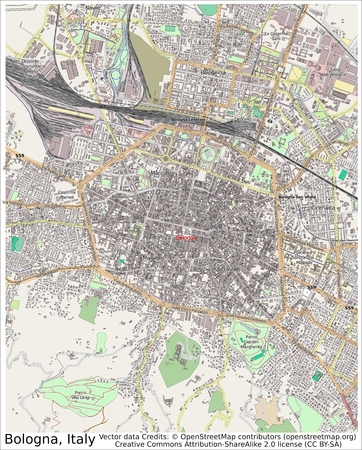 Bologna Italy city map aerial view Redactioneel