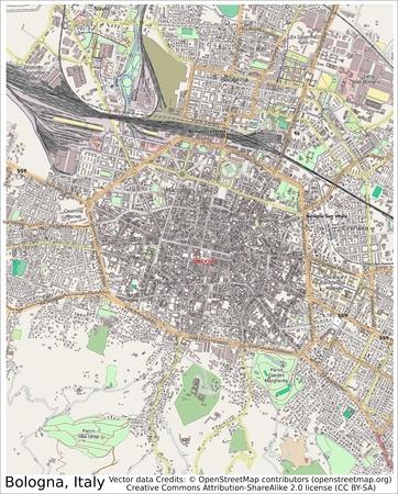 Bologna Italië plattegrond van de stad vanuit de lucht bekijken Stockfoto - 37285411