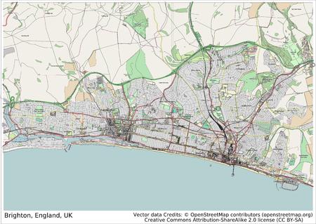 Brighton England UK city map aerial view
