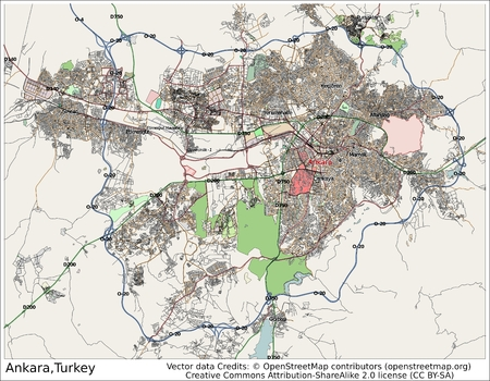 Ankara Turkey city map aerial view 新闻类图片