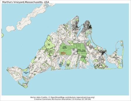 martha: Martha s Vineyard Massachusetts USA island map