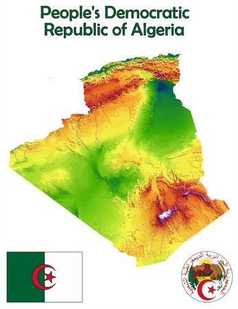 Algeria map flag coat Illustration