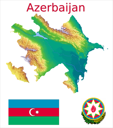 Azerbaijan map flag coat