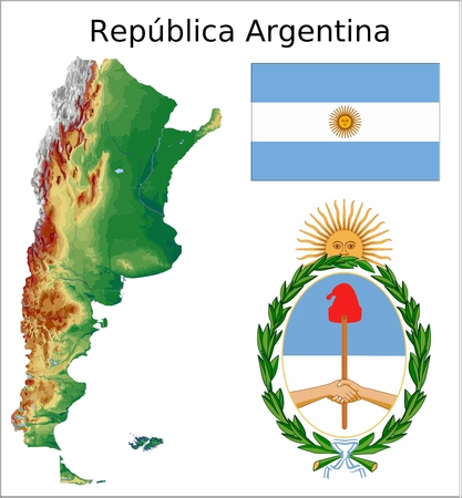 argentina map: Argentina map flag coat Illustration