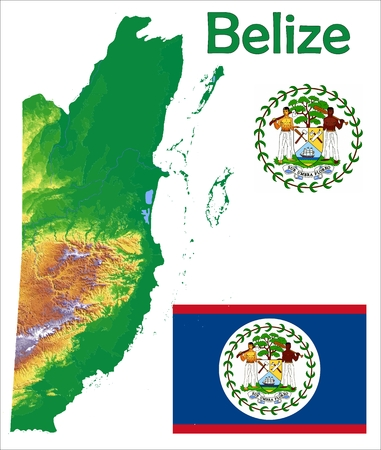 Belize map flag coat