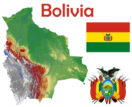 Bolivia map flag coat