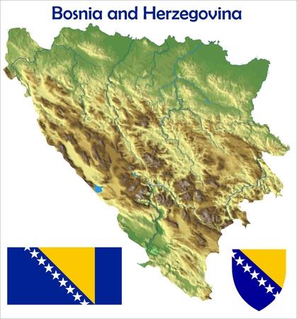 bosnia and  herzegovina: Bosnia & Herzegovina map flag coat