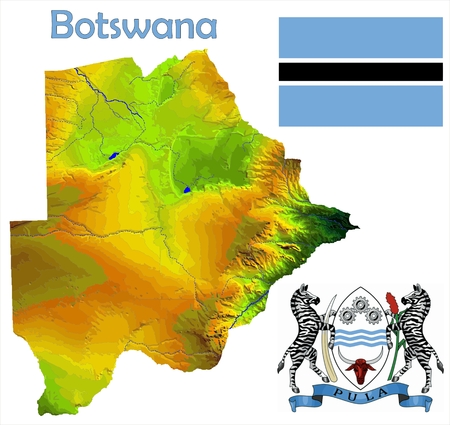 constitutional: Botswana map flag coat