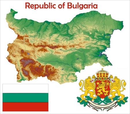 Bulgaria map flag coat 向量圖像
