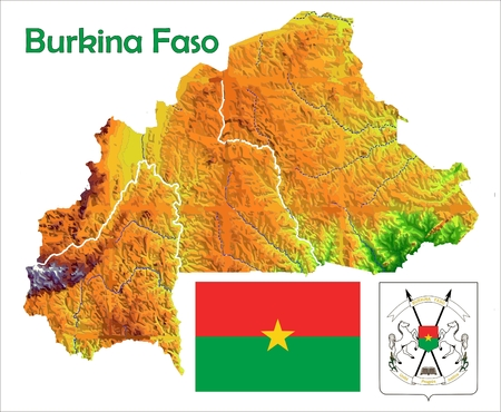 Burkina Faso kaart vlag jas