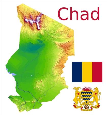 Tchad manteau carte drapeau Banque d'images - 37748448
