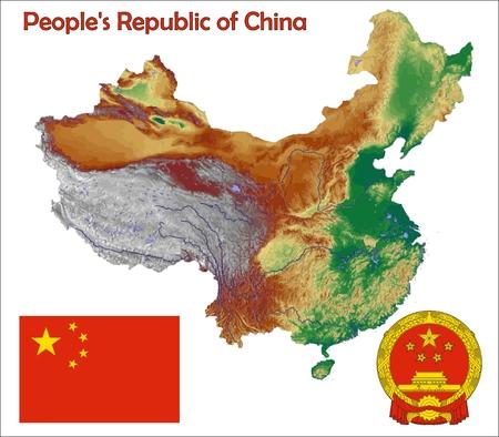 Kaart vlag China jas Stockfoto - 37748450