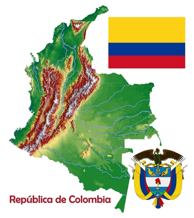 constitutional: Colombia map flag coat