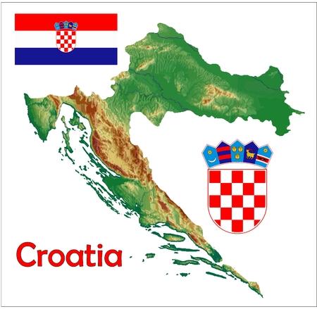 Croatia map flag coat