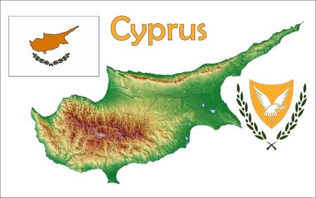 Cyprus map flag coat