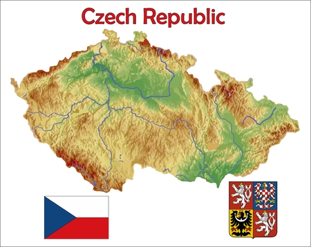 Czech Republic map flag coat 版權商用圖片 - 37748457