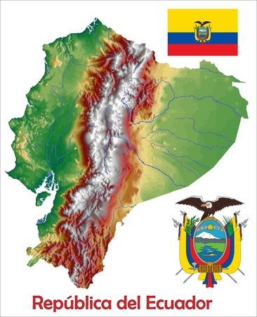 constitutional: Ecuador map flag coat