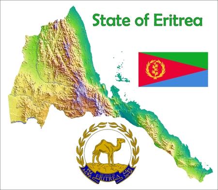 Eritrea map flag coat