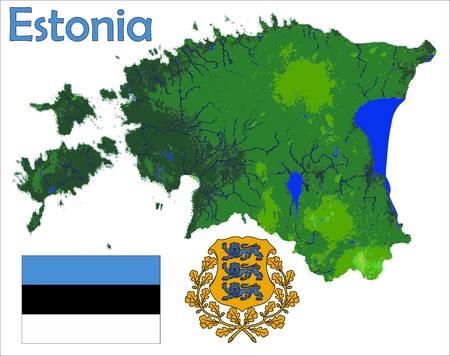 エストニア地図旗コート  イラスト・ベクター素材