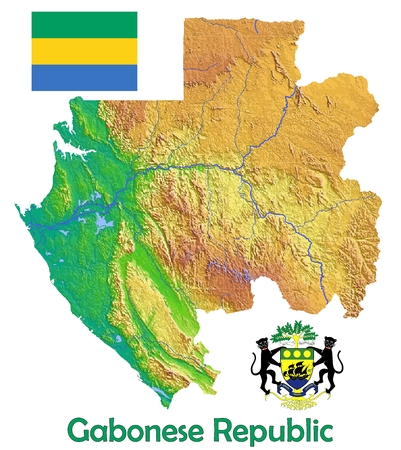 constitutional: Gabon map flag coat Stock Photo