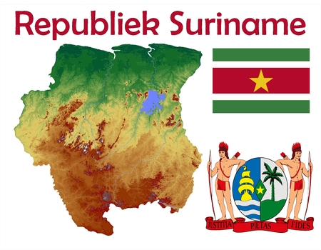 Suriname map flag coat