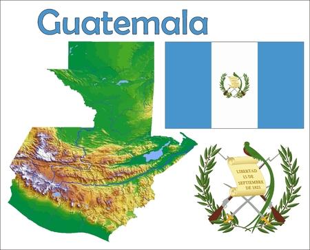 Guatemala map flag coat