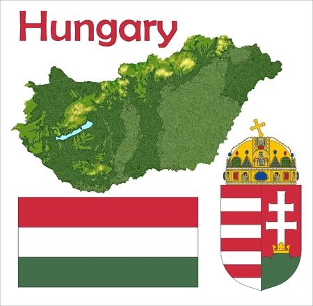 Hungary map flag coat Stock Illustratie