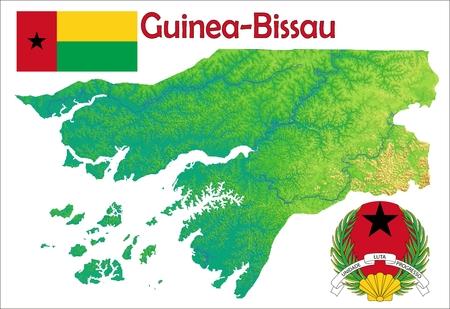 Guinea Bissau map flag coat