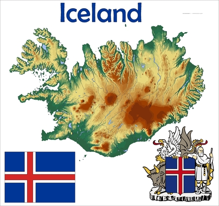 Iceland map flag coat