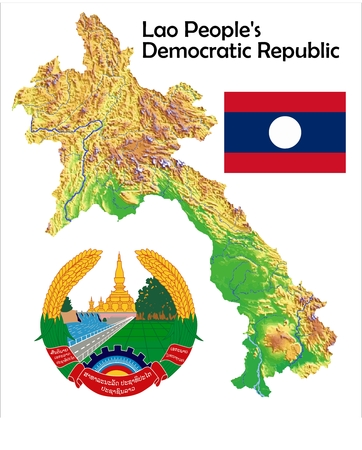 constitutional: Laos map flag coat