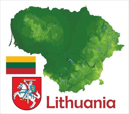 Litouwen kaart vlag jas