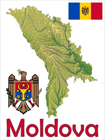 Moldavia escudo de bandera de mapa