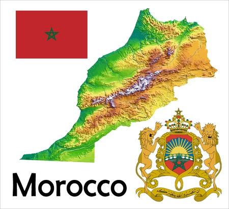 Morocco map flag coat