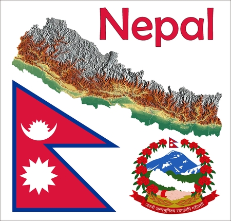 constitutional: Nepal map flag coat